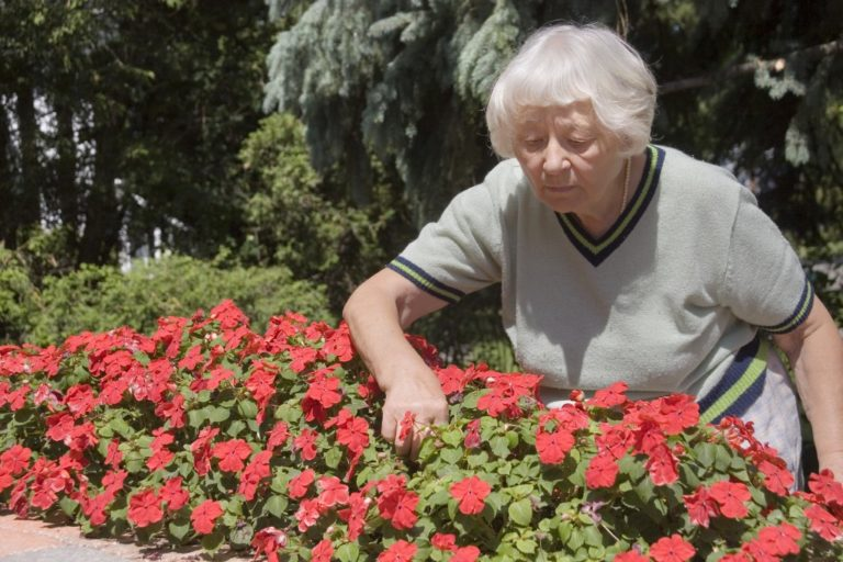 woman checking on her flowers