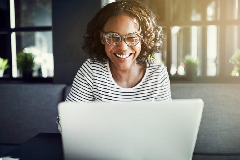woman taking online course