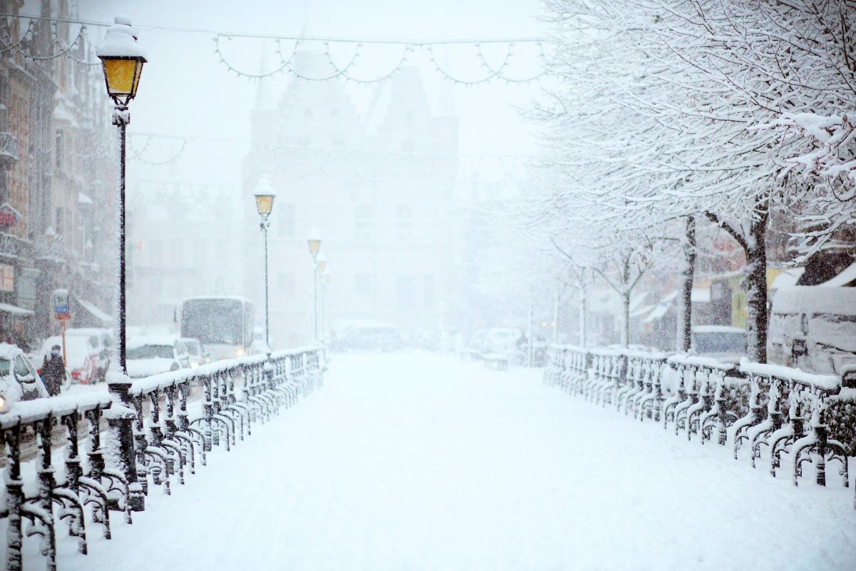 street filled with snow