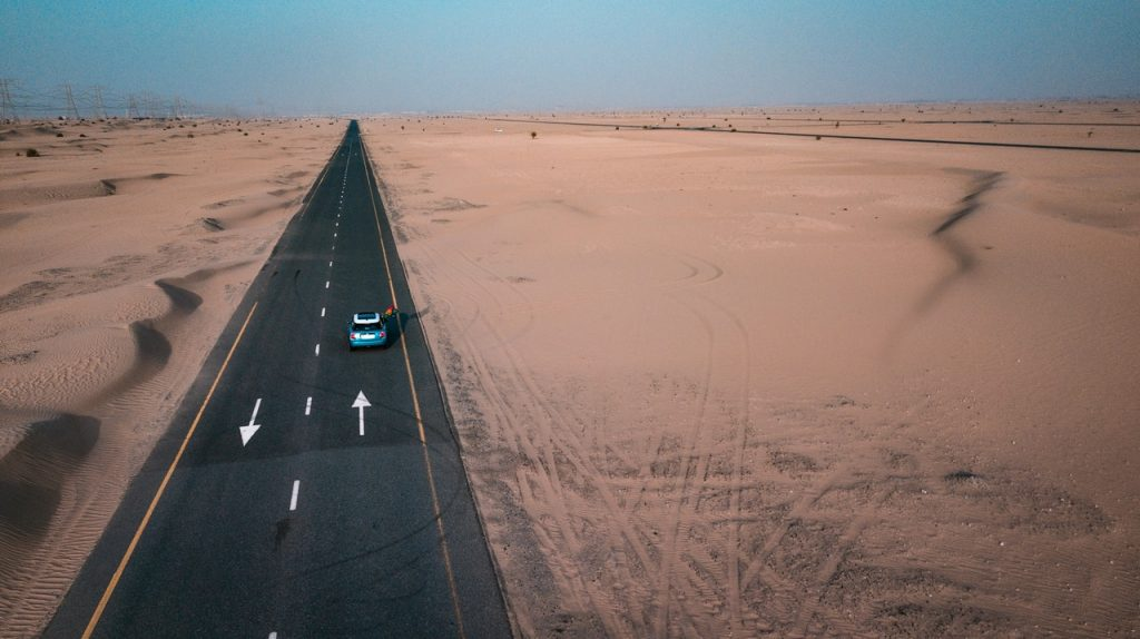 car driving on an open highway