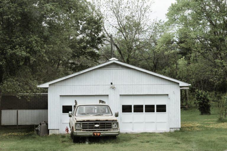 car near a garage